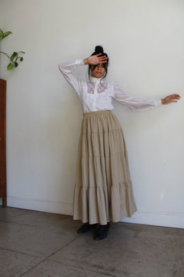 1980s Khaki Cotton Skirt