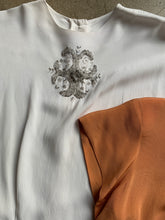 Load image into Gallery viewer, 1940s Hand Beaded White Rayon Blouse