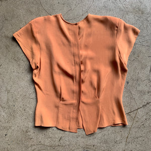 1940s Hand Beaded Copper Rayon Blouse