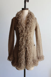 1990s Nubby Tan Yarn Cardigan