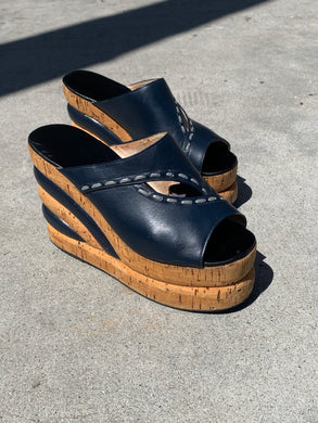 1970s Stacked Platform Wedge Sandal