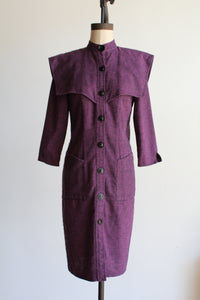 1980s Purple + Black Space Age Knit Dress