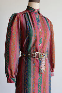 1970s Paisley Striped Collared Dress