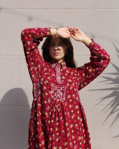 1970s Floral Print Cotton Embroidered Dress - Made in Pakistan
