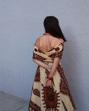 Load image into Gallery viewer, 1970s does 50s Convertible Wrap Top Day Dress - Dutch Java Print Vlisco Hollandais