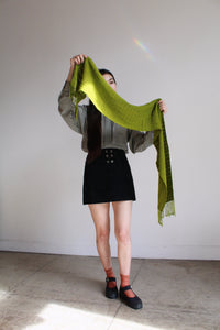 1990s Moss Green Fringe Scarf