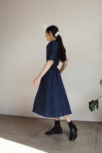 1980s Navy Blue Linen Skirt Set
