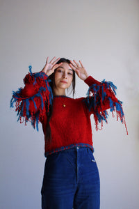 1980s Red Chenille Fringe Sweater