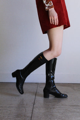 1960s Black Patent GoGo Boots