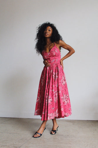 1970s Pink Batik Sundress