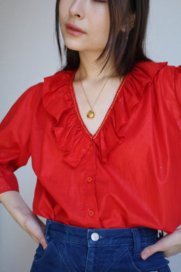 1980s Red Polished Cotton Blouse