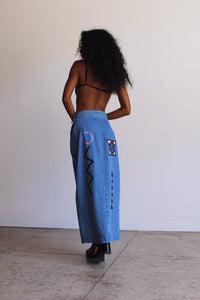 1980s Painted Denim Skirt and Belt