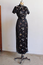 Load image into Gallery viewer, 1960s Black Satin Chrysanthemum Print Cheongsam Qipao Dress