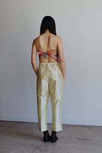 90s Chartreuse Silk Plaid Trousers