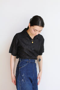1990s Black Silk Ribbon Blouse