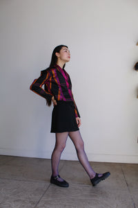 1980s Plaid Silk Cropped Jacket