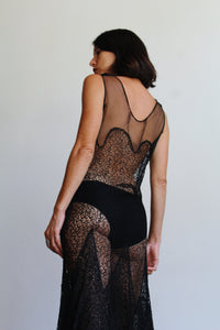 1930s Black Lace Net Gown