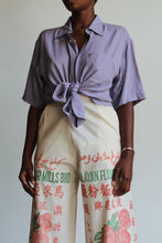 Load image into Gallery viewer, 80s Silk Lavender Button-up Blouse
