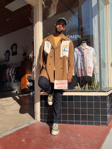 Rice Sack Patchwork Trench Coat