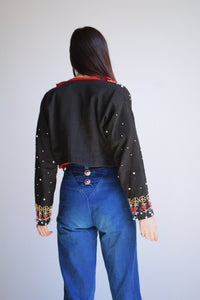 1980s Black Beaded Bolero Jacket