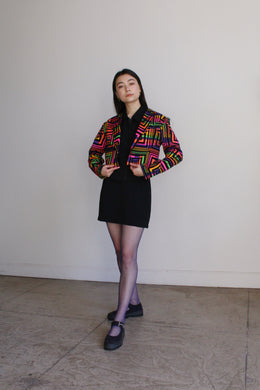 1980s Neon Op Art Cropped Jacket