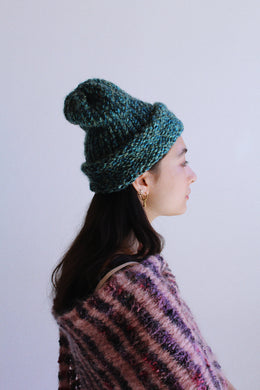 Vintage Homemade Turquoise Green Knit Beanie