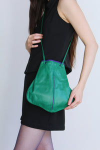 1980s Green Contrast Leather Purse