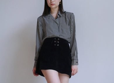1980s B&W Striped Blouse