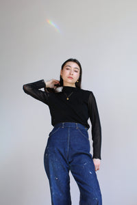 1990s Black Mesh Long Sleeve Ruffle Turtleneck Blouse