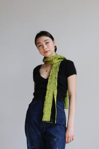 1990s Chartreuse Black Silk Scarf