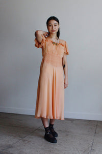 1940s Peach Silk Chiffon Dress