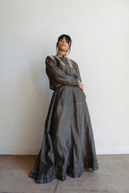 Victorian Grey Pinstripe Dress Set
