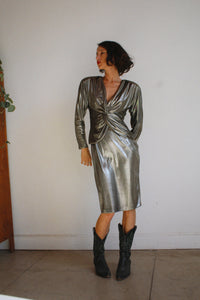 1980s Liquid Gunmetal Dress