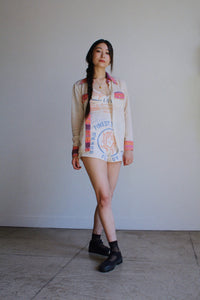 1970s Pink Melon Striped Western Shirt