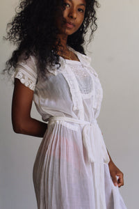 1920s White Cotton Gauze Tea Dress