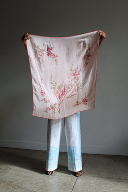 1940s Pink Cherry Blossom Silk Scarf