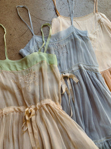 1920s Pastel Tissue Silk Step-in Lingerie