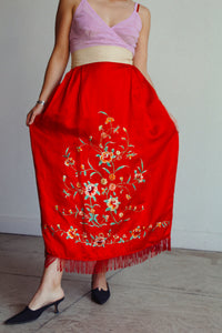 Antique Chinese Red Silk Embroidered Robe Skirt