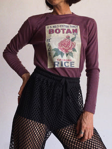 Botan Rice 1970s Plum Long Sleeve Shirt - S