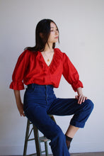 Load image into Gallery viewer, 1980s Red Polished Cotton Blouse