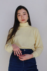 1980s Butter Yellow Turtleneck Sweater