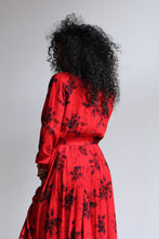 Load image into Gallery viewer, 1980s Red Rose Dress Set