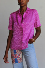 Load image into Gallery viewer, 1990s Fuschia Pink Silk Leopard Print Blouse
