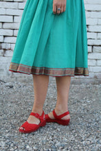 Load image into Gallery viewer, 1950s Turquoise Cotton Organdy Shelf Bust Dress