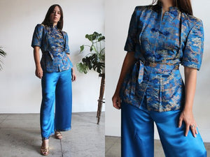 1940s Blue Chinese Silk Brocade Set