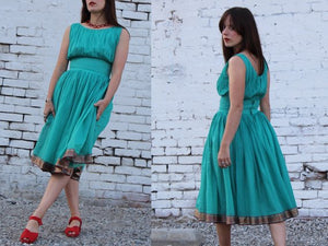 1950s Turquoise Cotton Organdy Shelf Bust Dress
