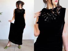 Load image into Gallery viewer, 1930s Black Silk Velvet Burnout Gown