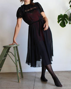 1940s Black Sheer Chiffon Film Noir Dress