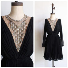 Load image into Gallery viewer, 1960s Black Chiffon Pleated Dress - AS IS