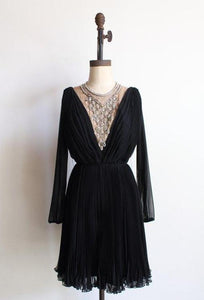 1960s Black Chiffon Pleated Dress - AS IS